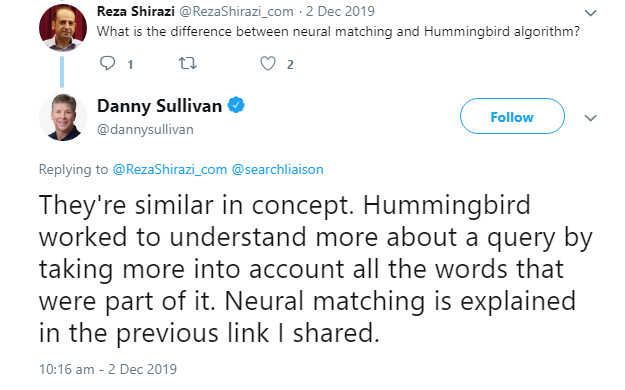Difference between Neural Matching and Hummingbird