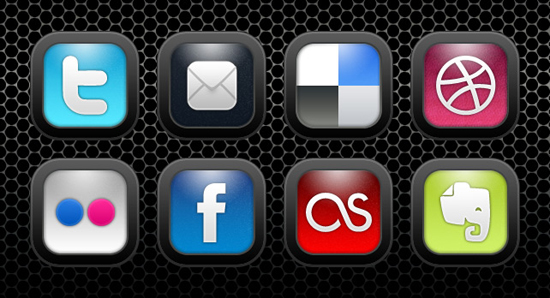 Collection of social media buttons